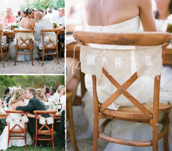 burlap chairs by off the beaten path weddings