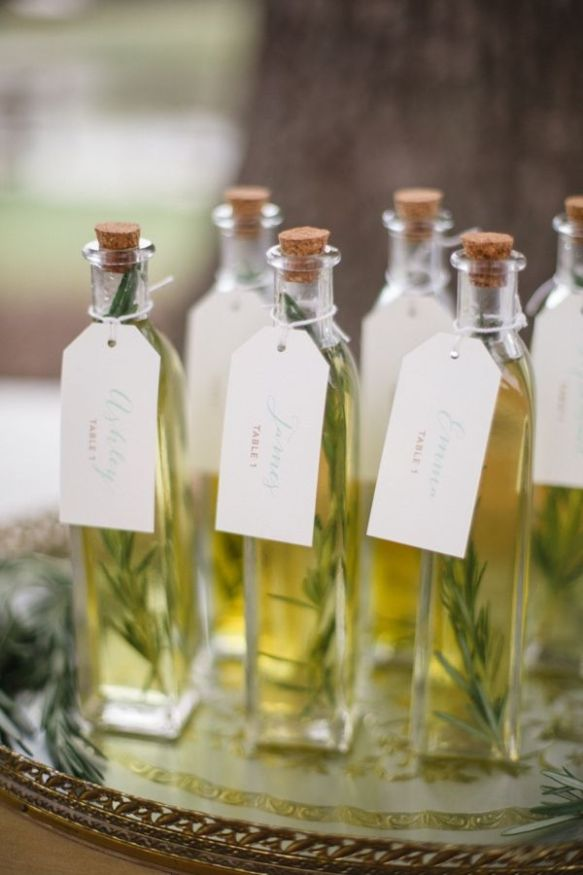 Rosemary infused olive oil with escort cards... LOVE. Thanks for creating this, Live View Studios, and thanks for sharing this, Wedding Chicks!