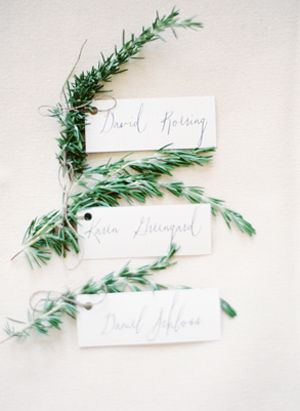 Use rosemary to play up your placecards. Simple and easy to DIY! (photo via OnceWed)