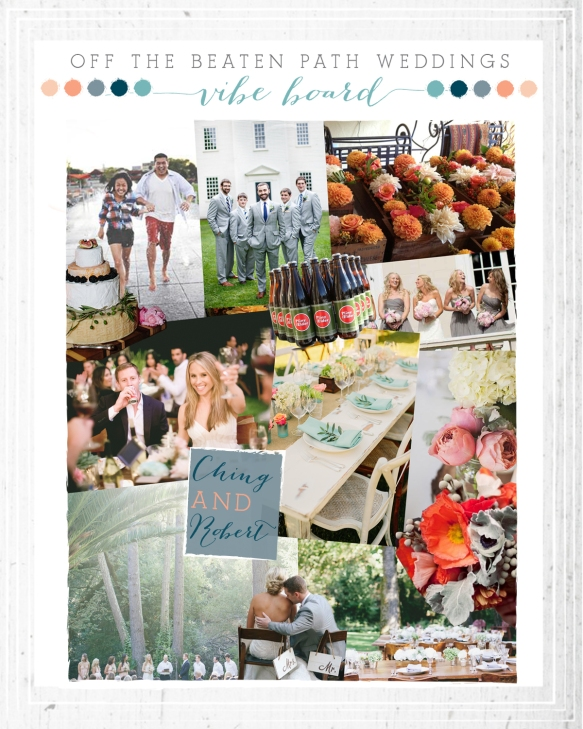 Chine and Robert's inspiration board for a June 2014 Off The Beaten Path Wedding