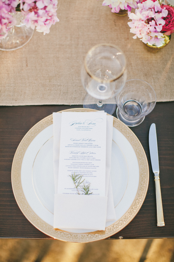 2013 Bridechilla Julia and husband Tom had a little touch of rosemary slipped in with their menus.  (Event Design by Off The Beaten Path Weddings, photo by onelove photography)