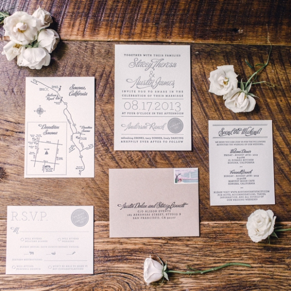 Created by The Aerialist Press, this wedding invitation suite carries a consistent, lovely theme!